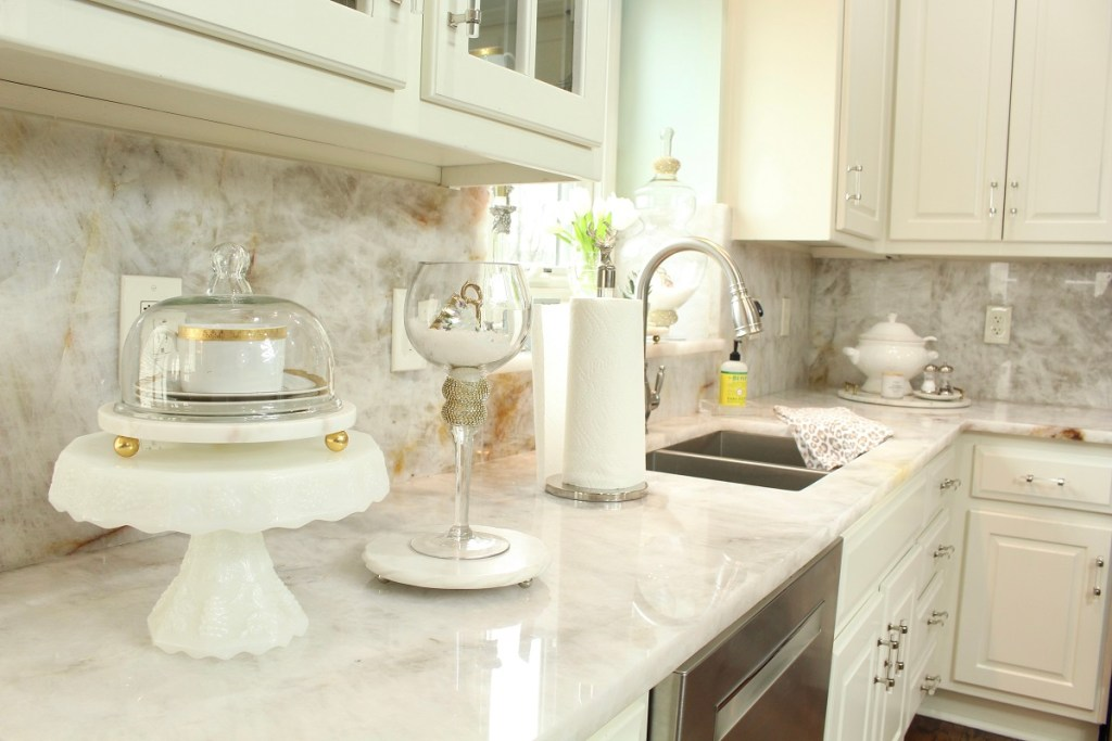White Kitchen Countertops with clean glass candlestick and milkglass cake stand