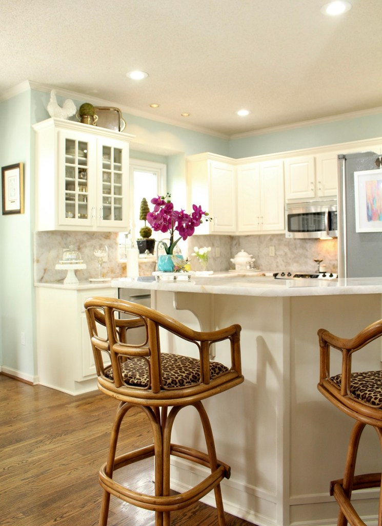 Rattan Kitchen Stool in Elegant White Kitchen Makeover