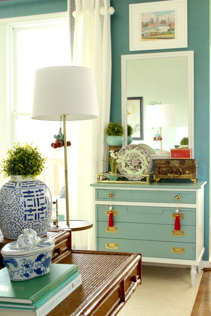 Home Decor Trends - Blue and White Chinoiserie Ginger Jar on Faux Bamboo Chest with Large Mirror and Asian Home Decor