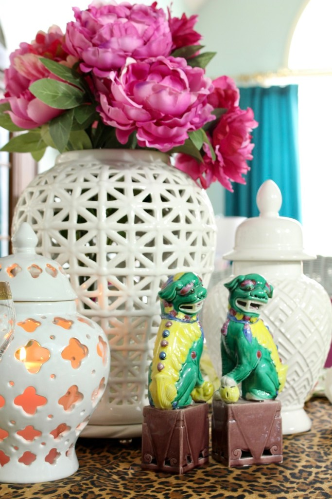 White Ginger Jar with Spring Stems and Chinoiserie Foo Dogs