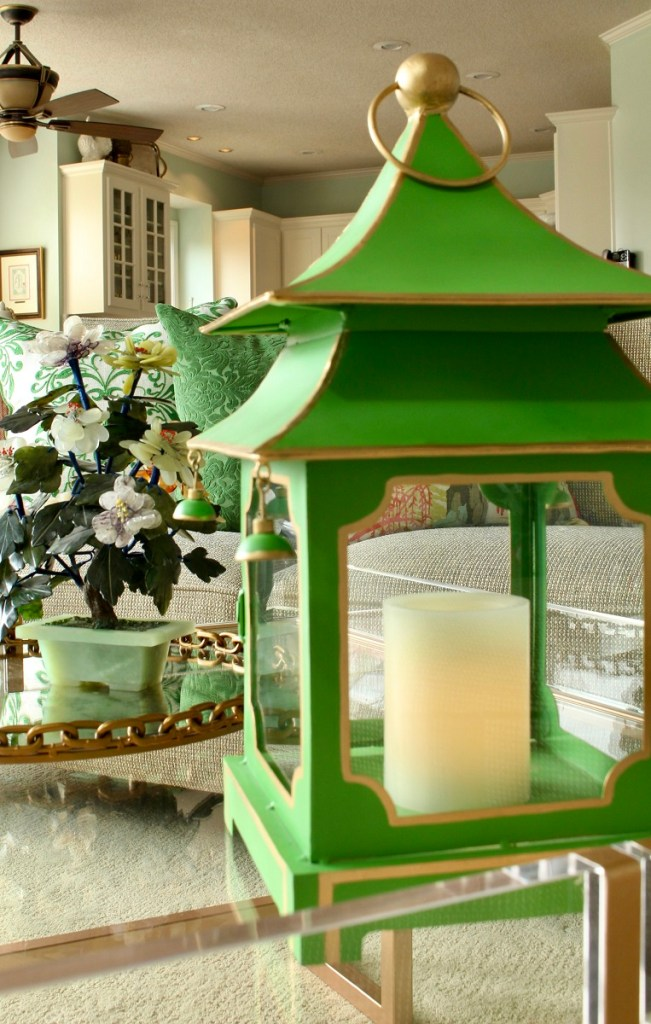 Home Decor Trend - Large Green Pagoda on acrylic coffee table