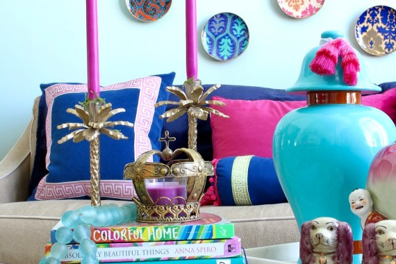 Home Decor Trends - Colorful Books on Coffee Table with Turquoise Ginger Jar in Chinoiserie Living Room