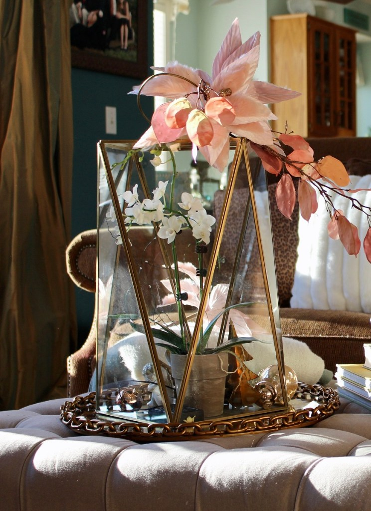 Brass and Glass Lantern with Pink flower