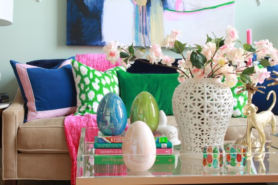 Large Ceramic Eggs in colorful living room