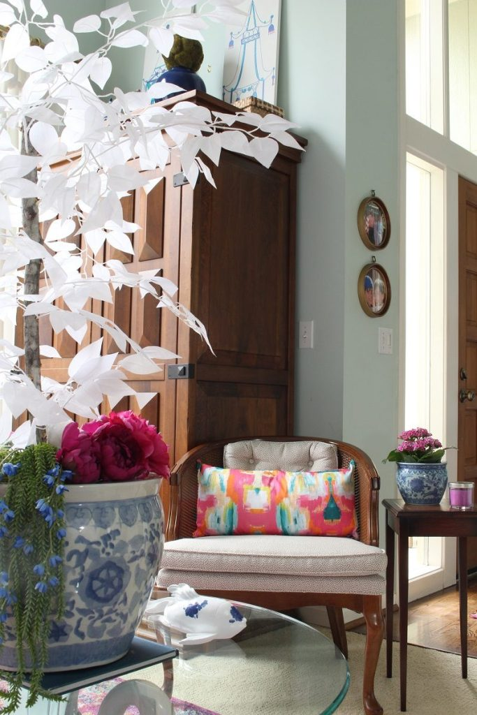 Faux White Tree in Chinosierie Fishbowl with Colorful Throw Pillow