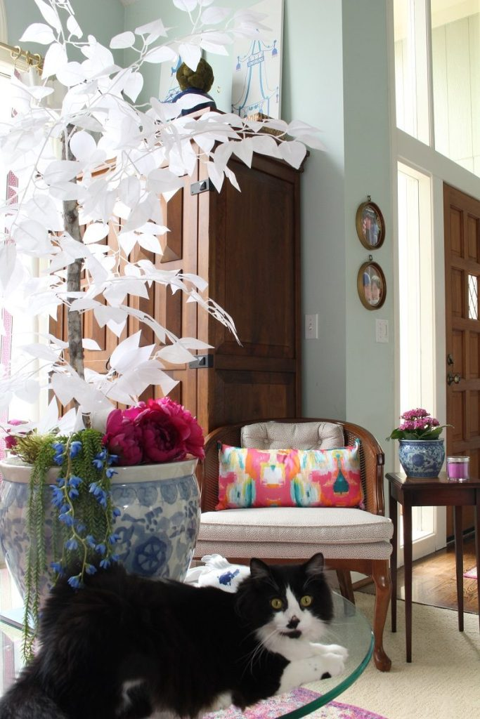 Spring Home Tour with Pink Peonies and Colorful Spring Pillow