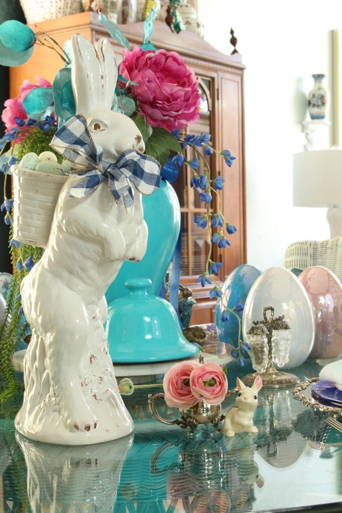 Larger Ceramic Easter Bunny and Turquoise Ginger Jar