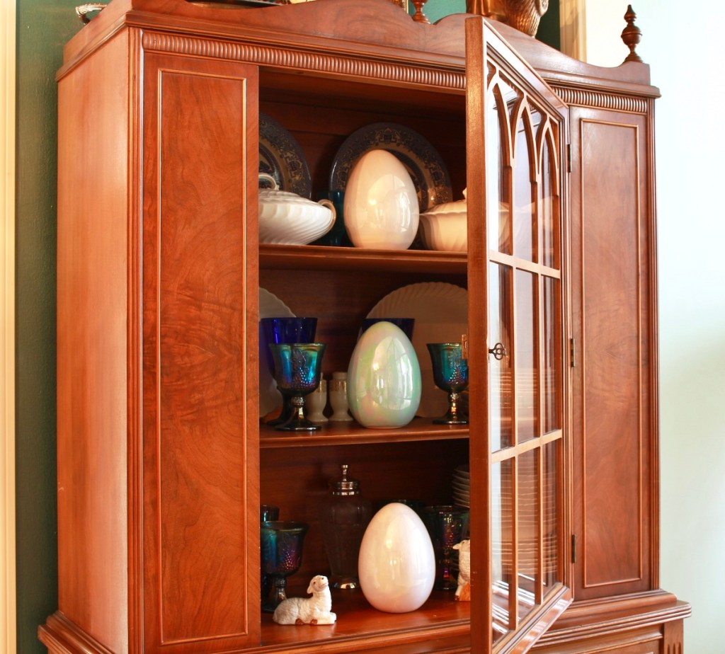 Large Ceramic Easter Eggs in China Cabinet