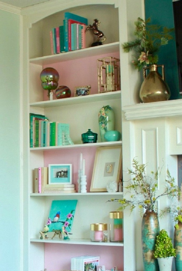 White Bookcase with Pink Foam Board Inserts