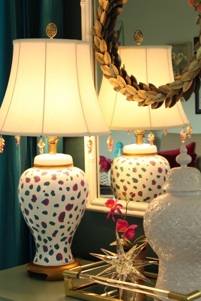 Ginger Jar Cheetah Print Lamp in front of White Bamboo Mirror