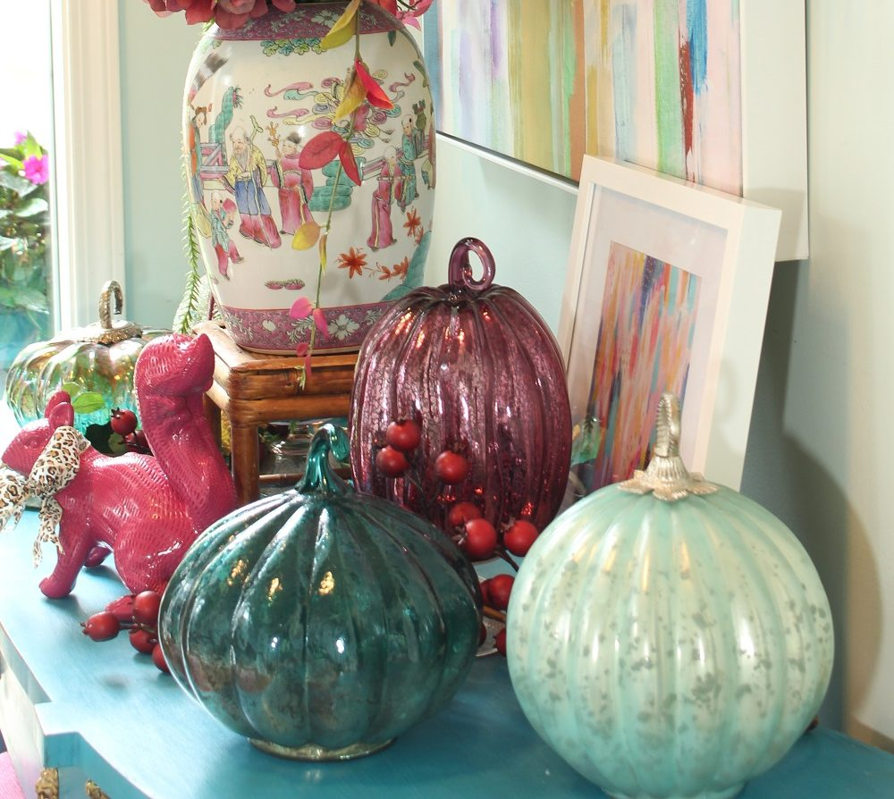 Mercury Glass Pumpkins and Fall Berries