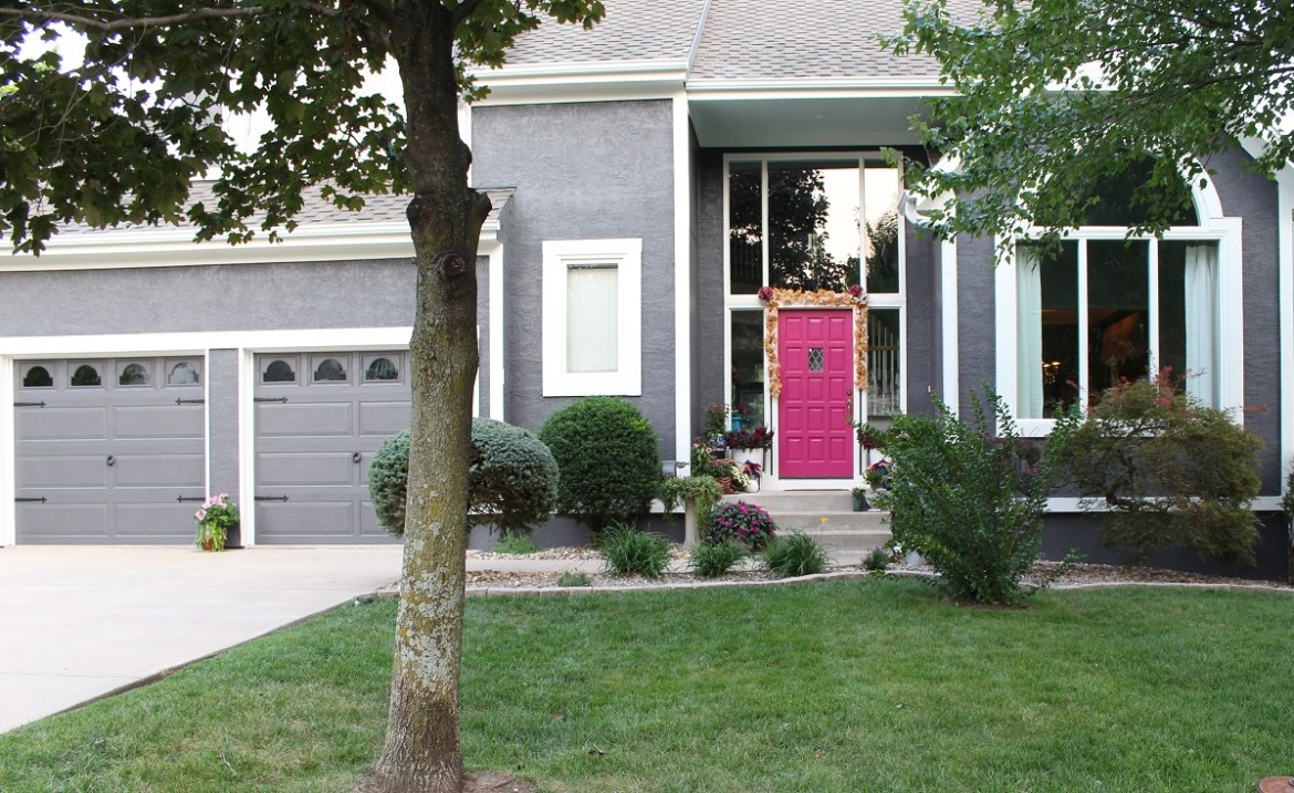 Dark Gray House with Fushia Door