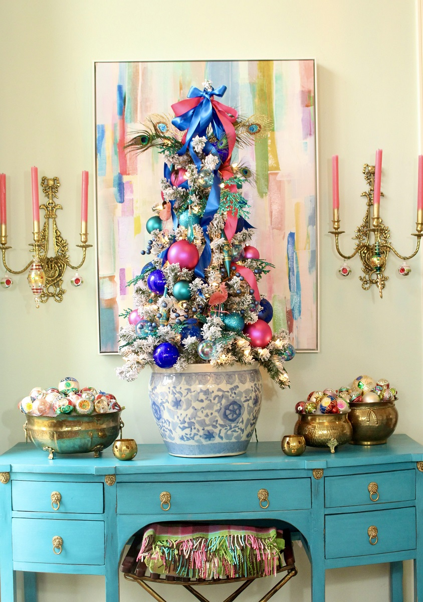 Colorful Blue and Pink Flocked Christmas Tree