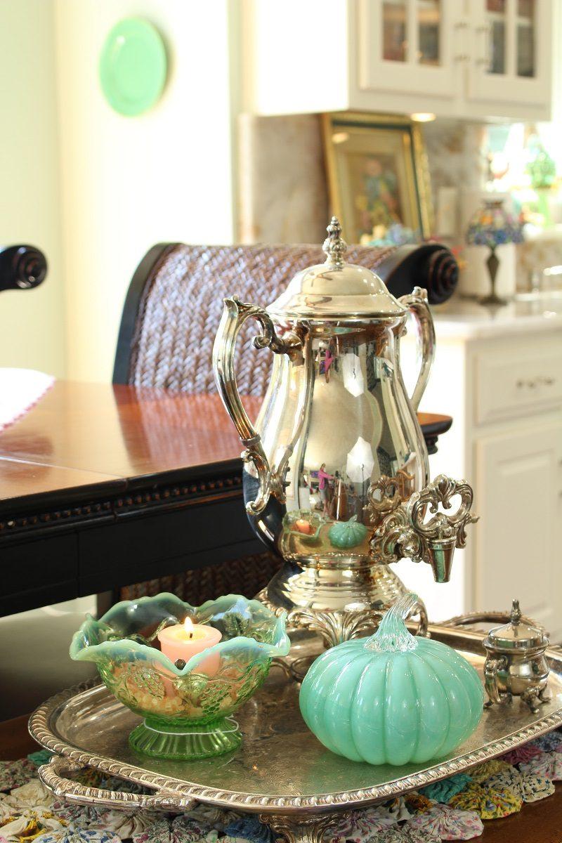 Fall glass pumpkin and silver tea pot