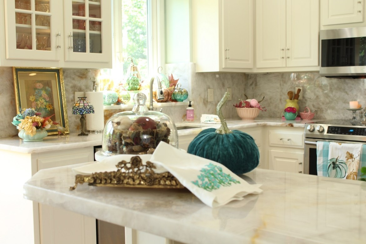 White Kitchen Decorated for Fall