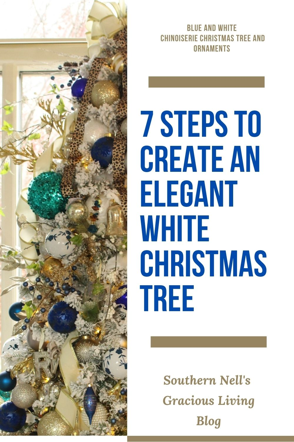 Blue and White Chinoiserie Christmas Tree