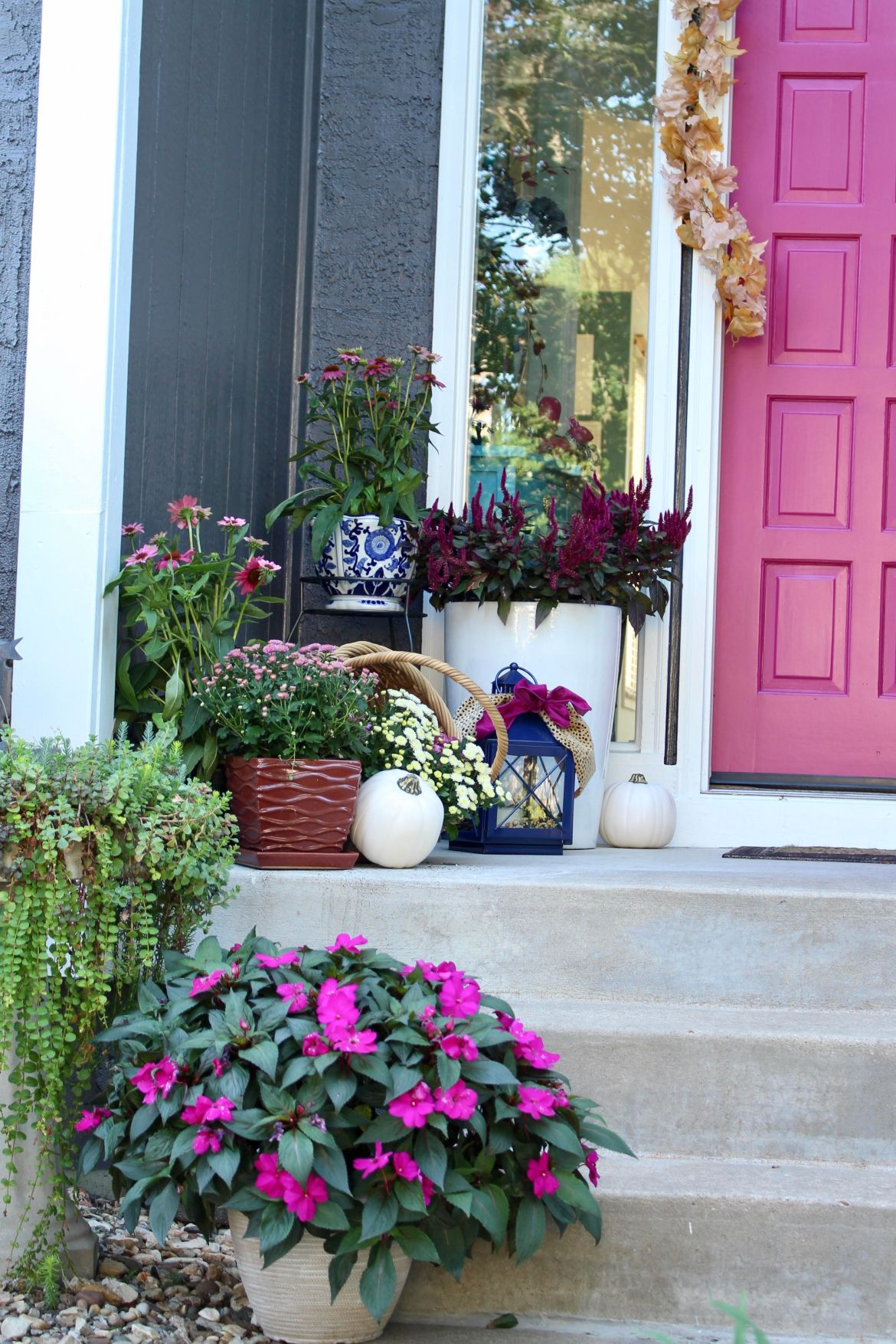 Fall Porch with Blue and White Planters