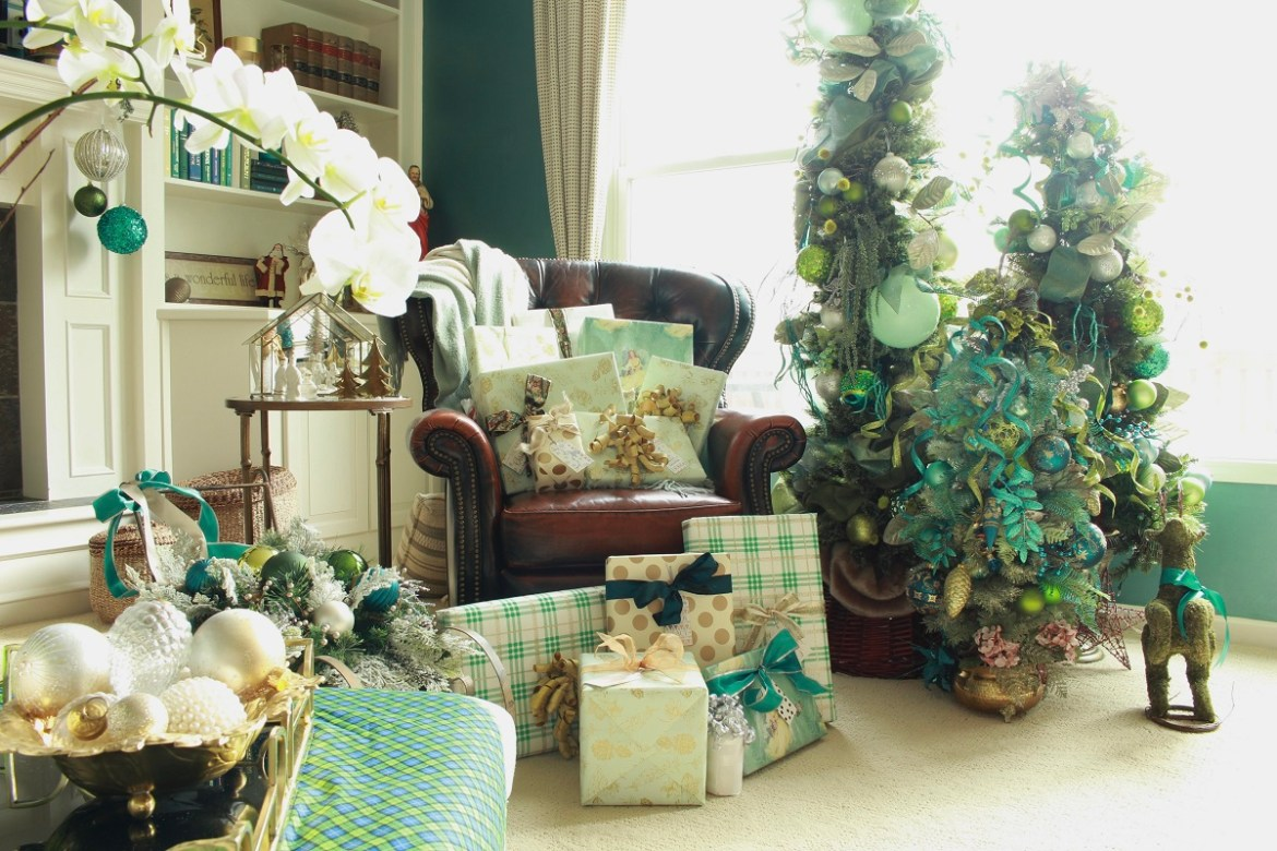 Teal and Green Christmas Trees and Wrapping Paper