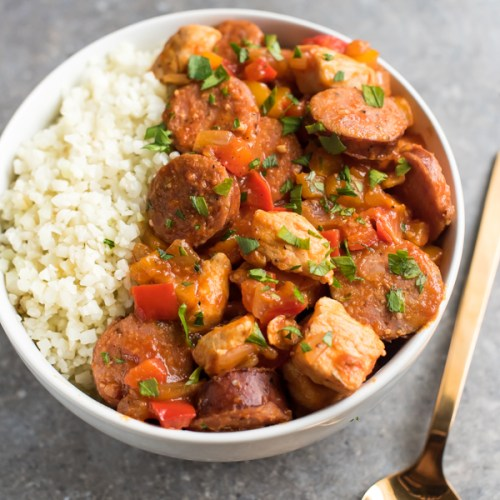 GF Cauliflower Rice Jambalaya