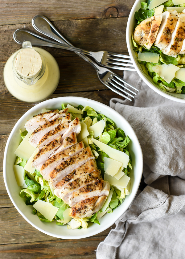 Grilled Chicken Brussel Sprout Caesar Salad
