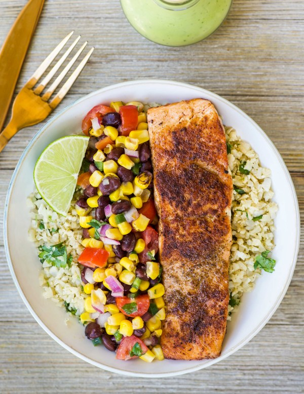 Spicy Salmon Burrito Bowl with Corn Salsa