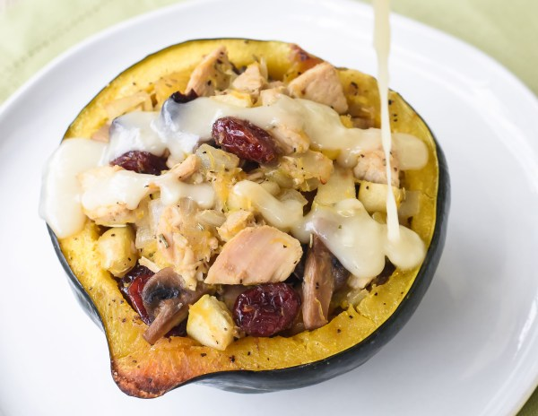 Leftover Turkey Stuffed Acorn Squash
