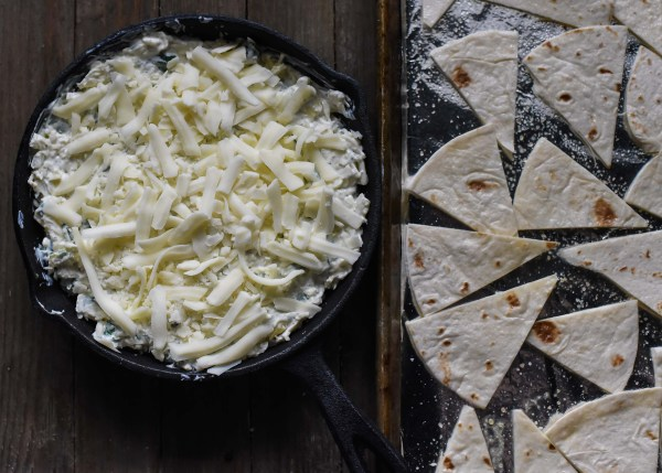 30-Minute Spinach & Artichoke Dip with Homemade Tortilla Chips