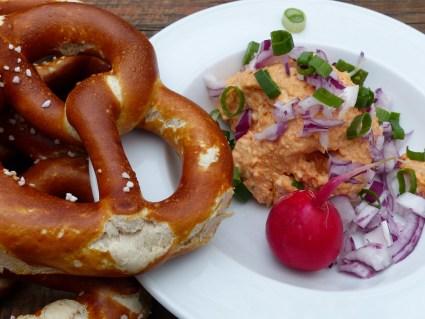 German Food - Obazda and Pretzels