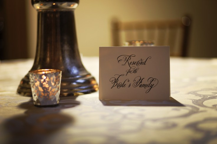 reserved for the bride's family sign by dement printing | mercury glass votives