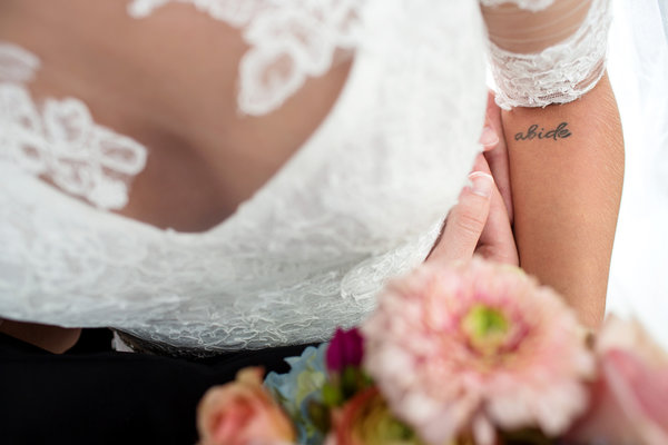 southern bride with tattoo