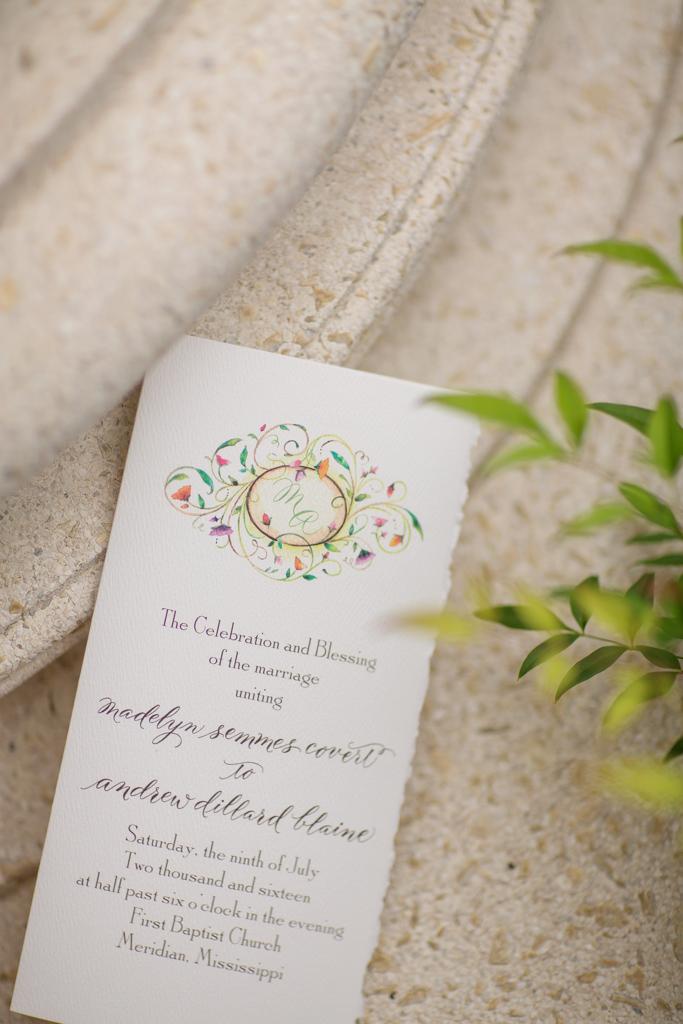 Mississippi Wedding with Custom Watercolor Monogram