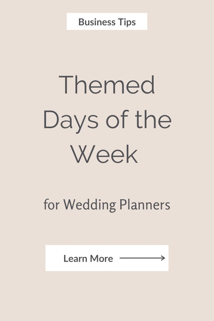How to Plan your days as a wedding planner