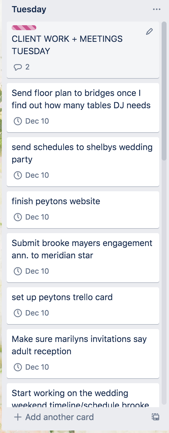Trello for wedding planners