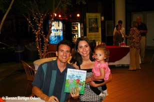 Book signing at Birmingham Public Library. Antonio poses with my friend Lisa Rios and her daughter