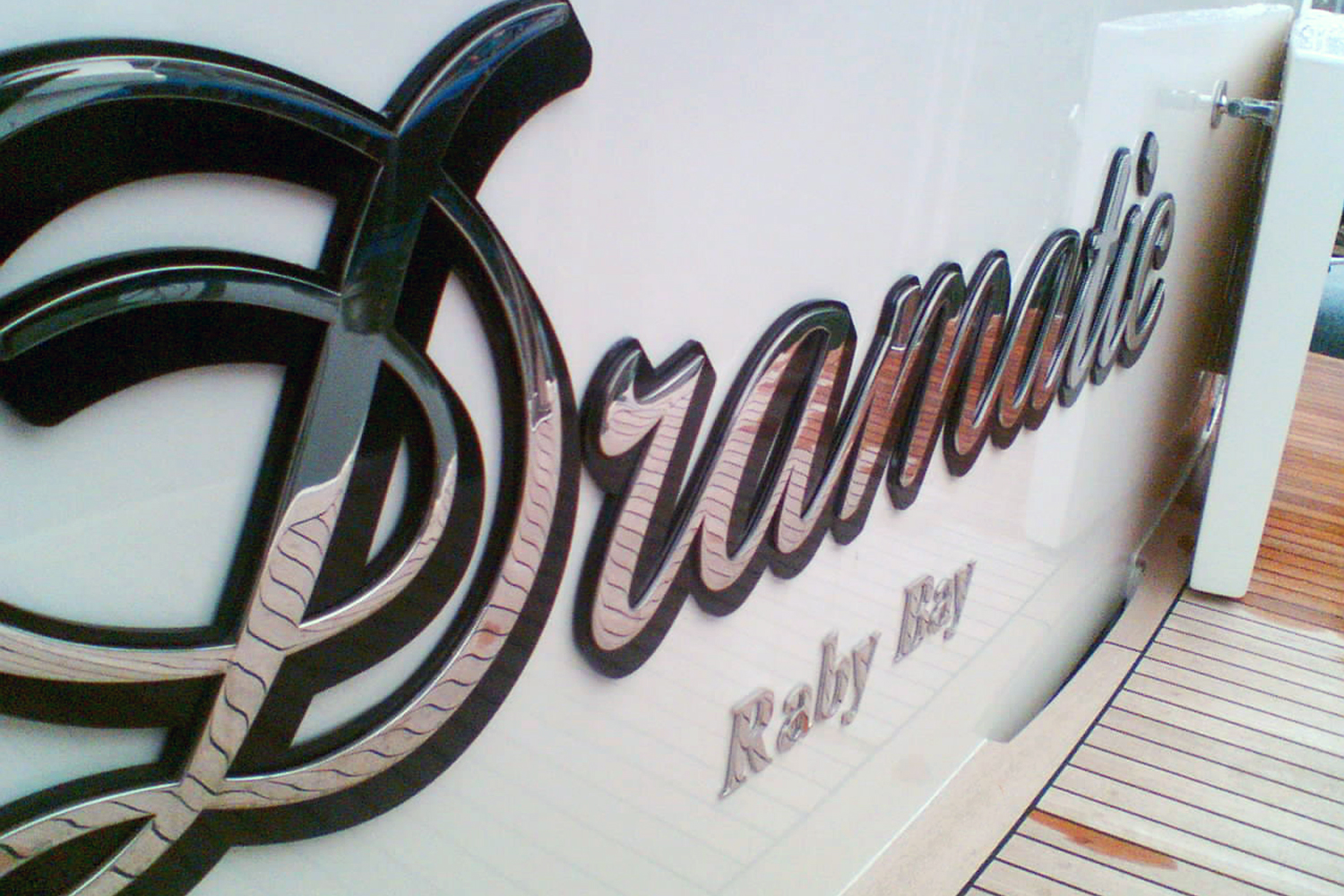 Stainless steel boat name and lettering