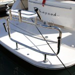 Stainless stern rail with Cookout Baitboard