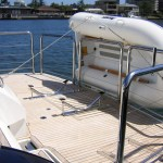Stainless stern rail with dinghy rails