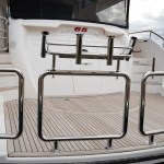 Stainless stern rail with bait board mounts