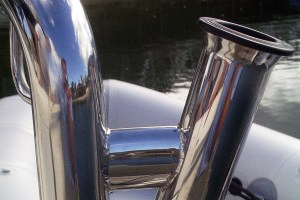 Stainless rod holders for duckboard rail