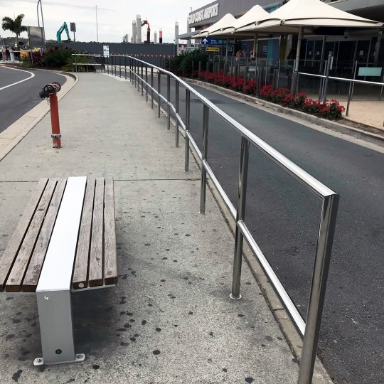 Stainless steel safety handrail at Gold Coast Airport by Southern Stainless