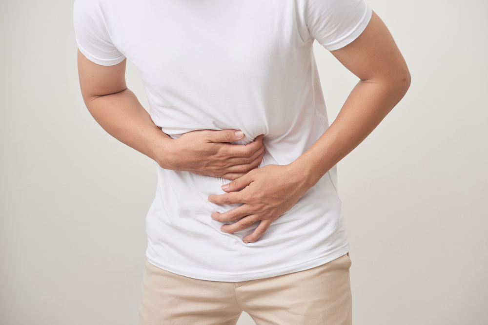 man with hernia pain