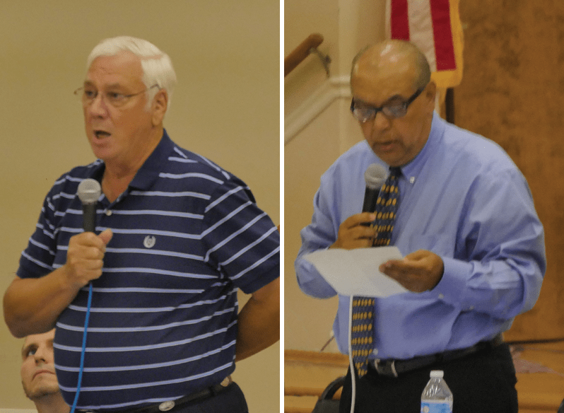 Candidates for Rainsville City Council Place 2, D.L. Stiefel (left) and Bejan Taheri (right) traded jabs at Monday night's forum. (Photos by Tyler Pruett)