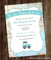 Travel Baby Shower Invitation with Car