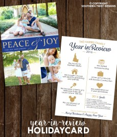 Peace & Joy Year In Review Card - Blue