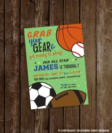 Grab Your Gear Sports Party Invite