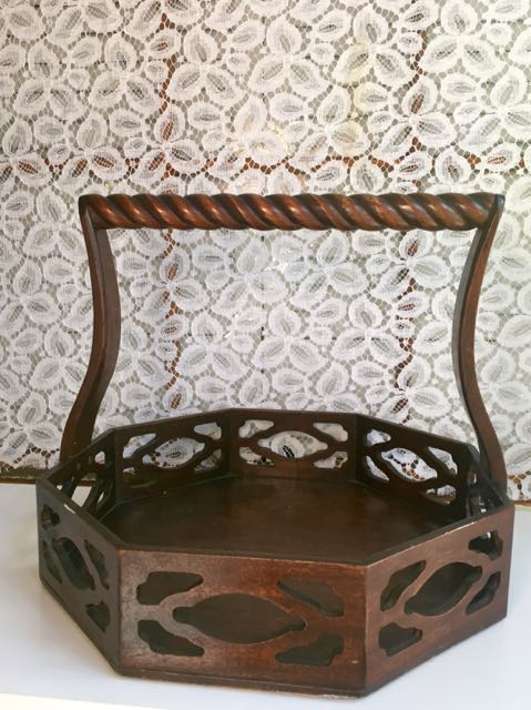 Six Sided Wooden Basket With Handle Southern Vintage Table - Six sided table