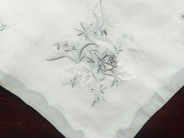 Cotton/Blend - Gray Embroidered Tablecloth