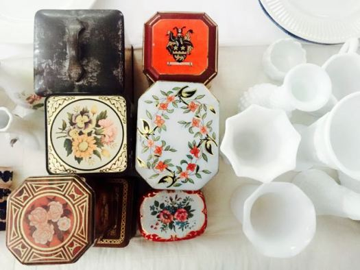 Vintage Tins and Milk Glass at Southern Vintage Table