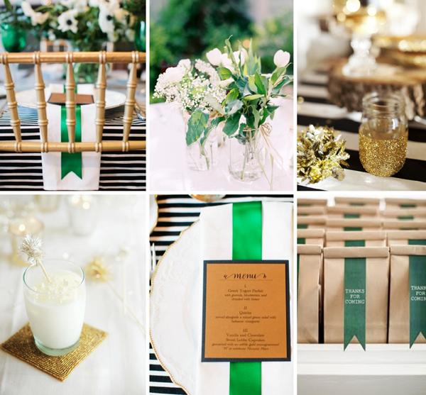 green black gold wedding inspiration
