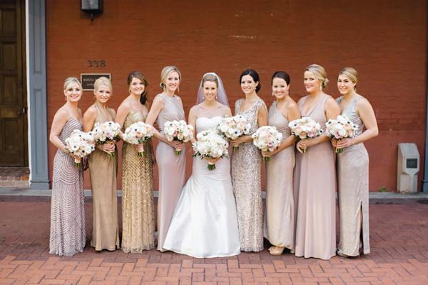 Southern-wedding-gold-silver-bridesmaid-dresses